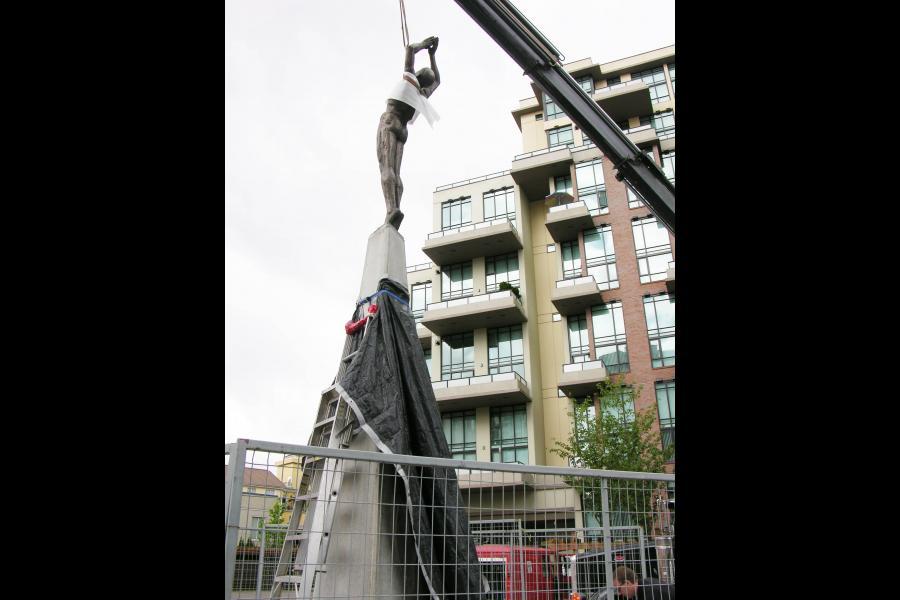Installing the composite-bronze figure