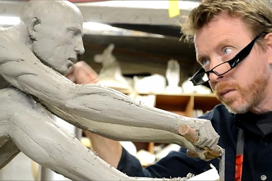 Daedalist clay figure in progress