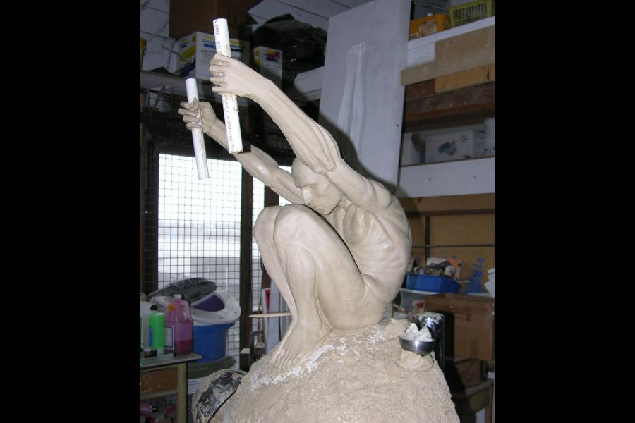 The clay Displacement figure in progress