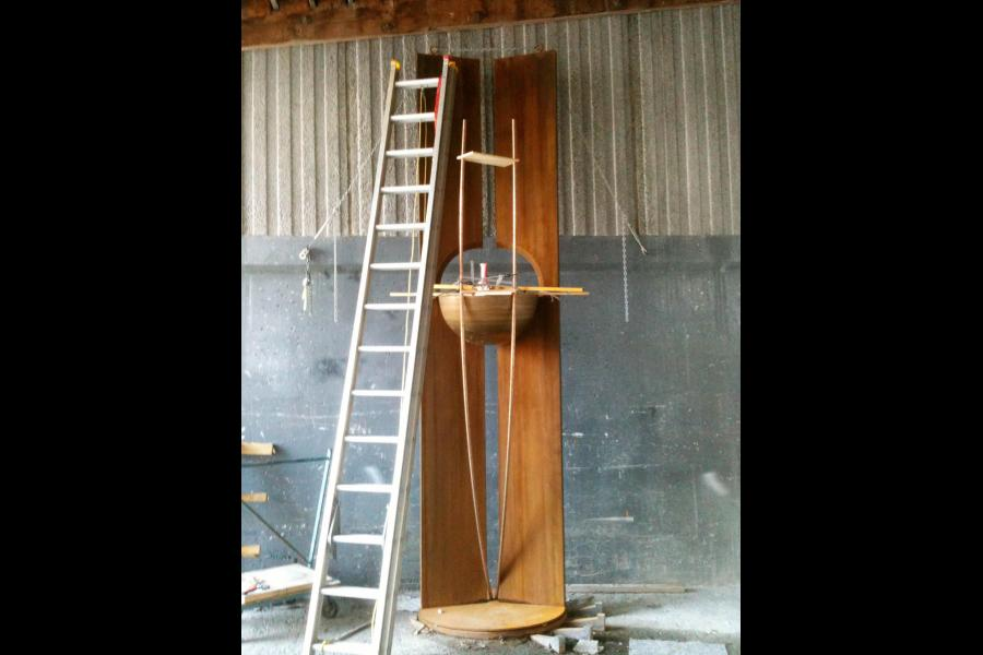 Fitting up the corten and bronze elements - 14' high and 5000 lbs.