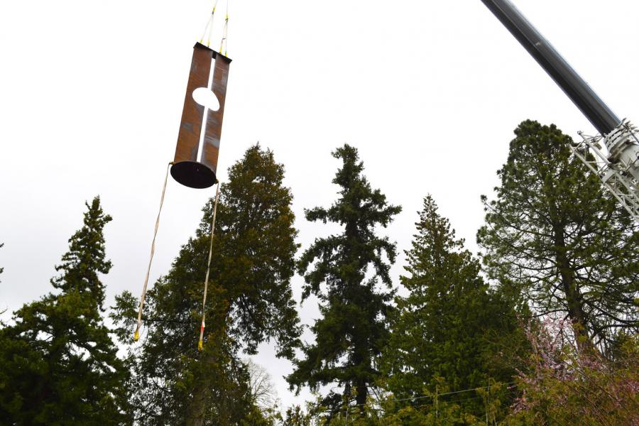 Craning the corten into place